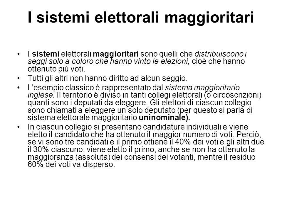 I sistemi elettorali maggioritari I sistemi elettorali maggioritari sono quelli che distribuiscono i seggi solo a coloro che hanno vinto le elezioni, cioè che hanno ottenuto più voti.