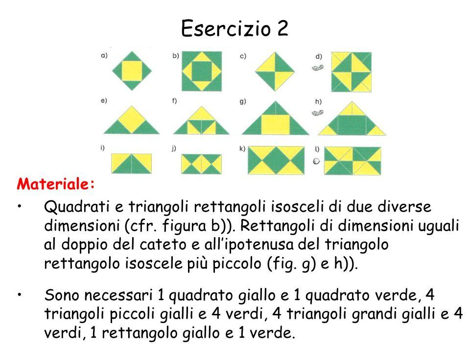 Esercizio 2 Materiale: Quadrati e triangoli rettangoli isosceli di due diverse dimensioni (cfr.