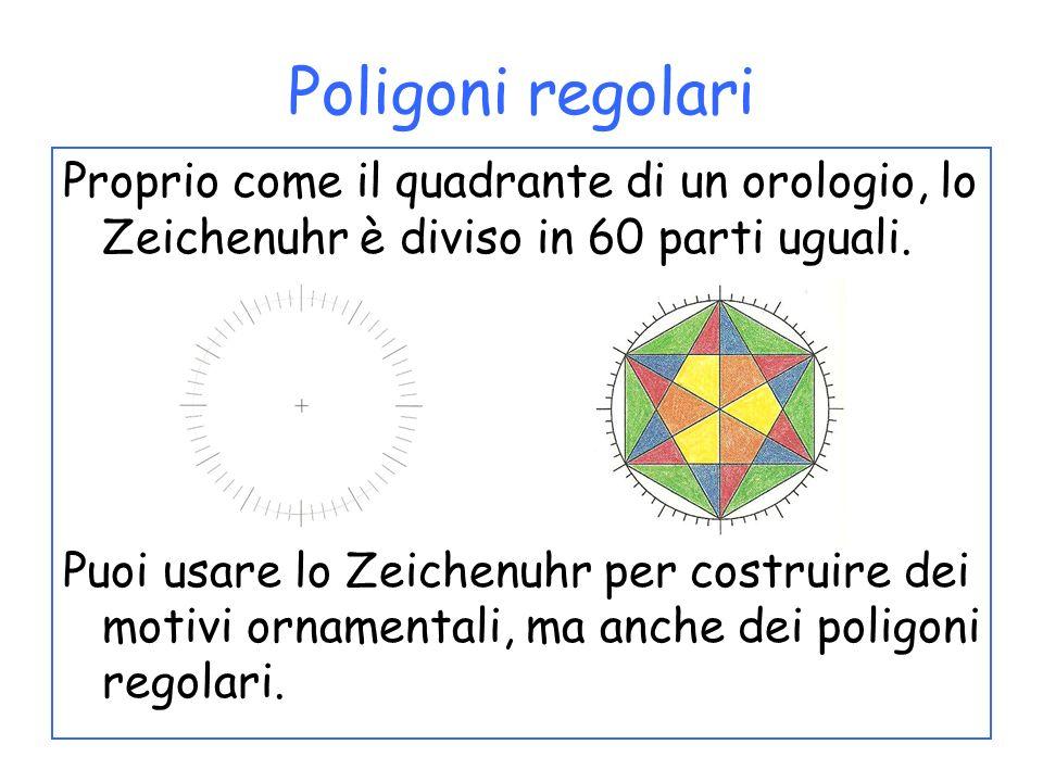 Proprio come il quadrante di un orologio, lo Zeichenuhr è diviso in 60 parti uguali. Puoi usare lo Zeichenuhr per costruire dei motivi ornamentali, ma