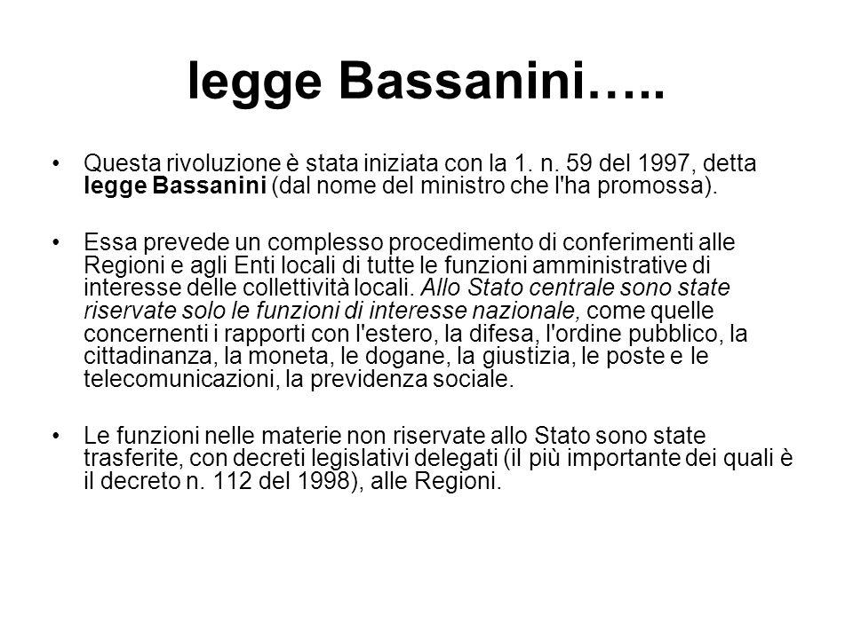legge Bassanini…..Questa rivoluzione è stata iniziata con la 1.