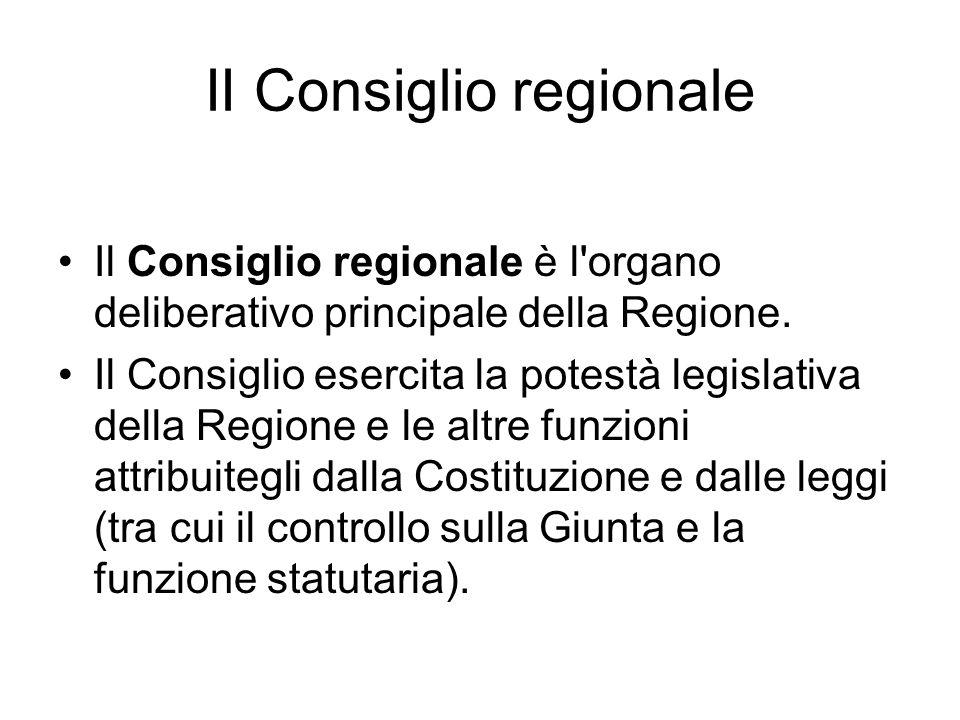 II Consiglio regionale Il Consiglio regionale è l organo deliberativo principale della Regione.