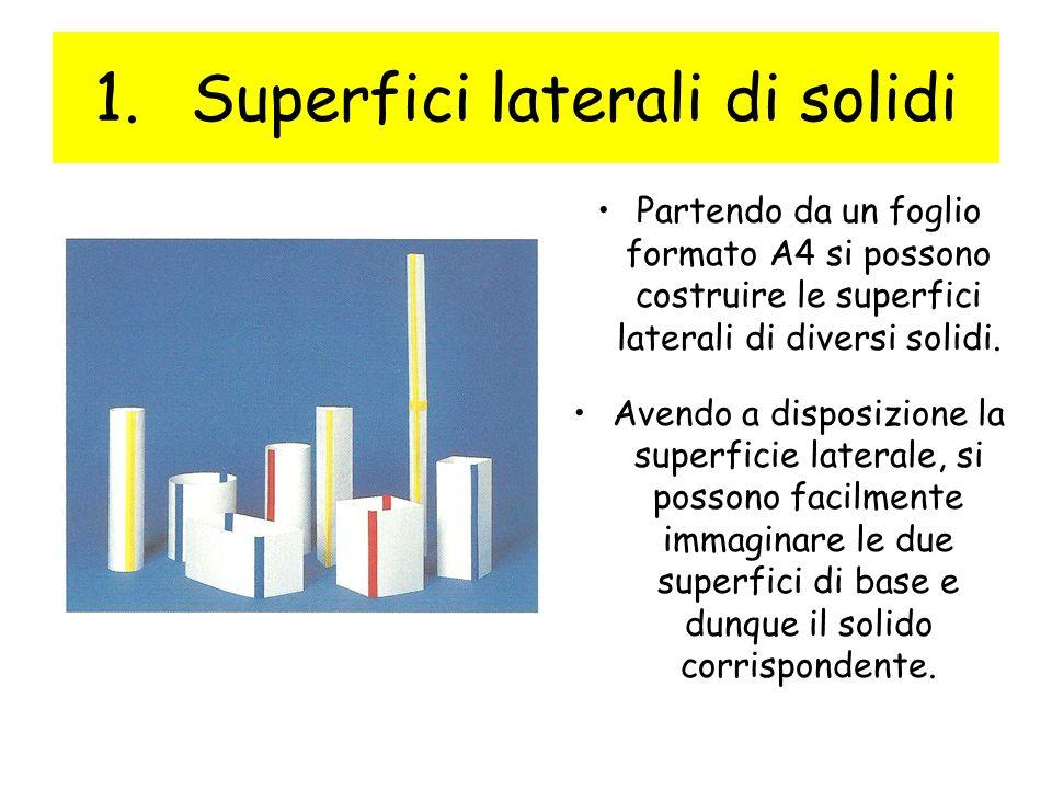 1.Superfici laterali di solidi Partendo da un foglio formato A4 si possono costruire le superfici laterali di diversi solidi. Avendo a disposizione la