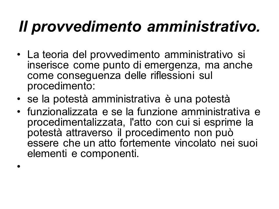 Il provvedimento amministrativo. La teoria del provvedimento amministrativo si inserisce come punto di emergenza, ma anche come conseguenza delle rifl