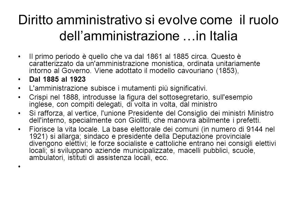 Diritto amministrativo si evolve come il ruolo dellamministrazione …in Italia Il terzo periodo (1923 1948), dominato, nella storia costituzionale, dall autoritarismo e concluso dalla Costituzione repubblicana e democratica, vede, ciononostante, affermarsi il pluralismo amministrativo.