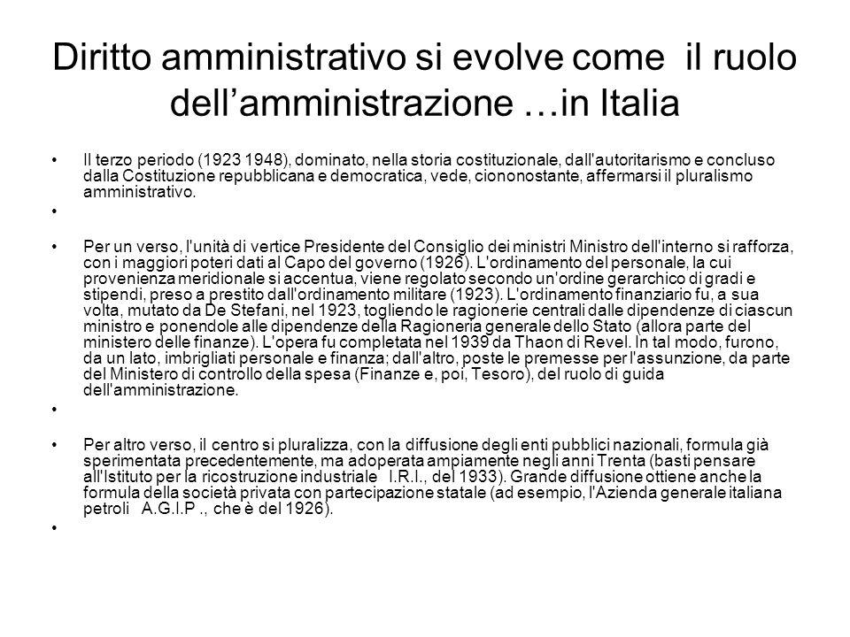 Diritto amministrativo si evolve come il ruolo dellamministrazione …in Italia Il terzo periodo (1923 1948), dominato, nella storia costituzionale, dal