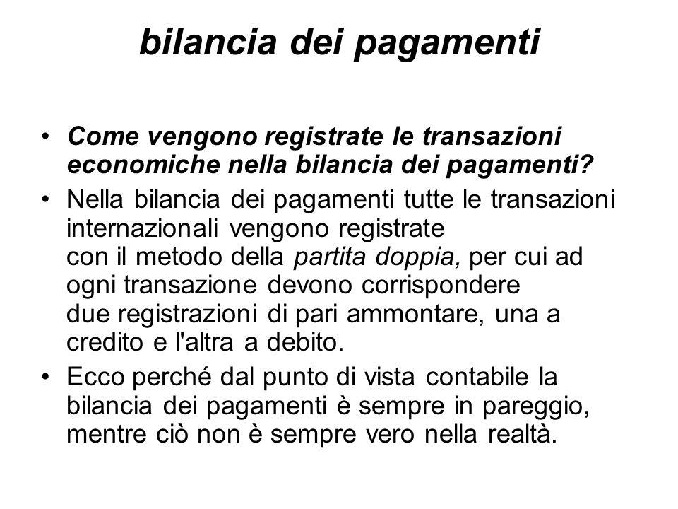 bilancia dei pagamenti Come vengono registrate le transazioni economiche nella bilancia dei pagamenti? Nella bilancia dei pagamenti tutte le transazio