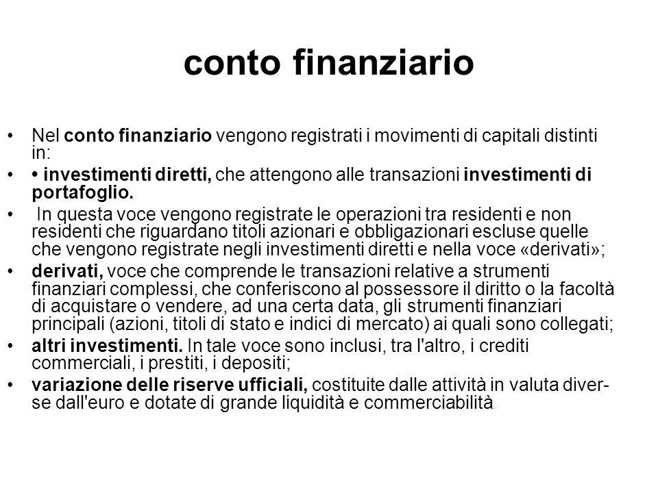 conto finanziario Nel conto finanziario vengono registrati i movimenti di capitali distinti in: investimenti diretti, che attengono alle transazioni i