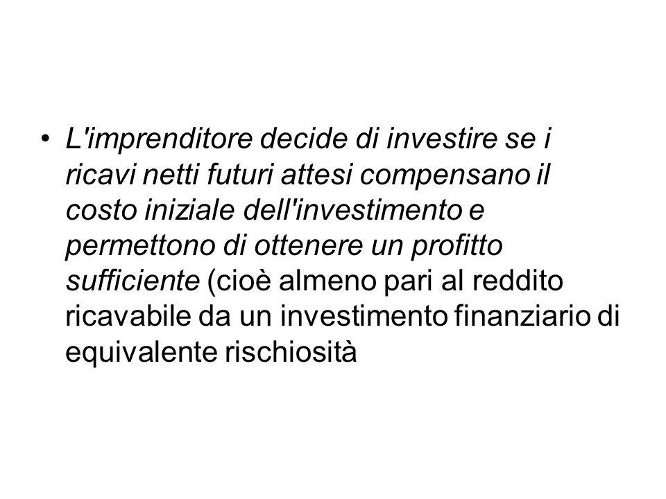 L'imprenditore decide di investire se i ricavi netti futuri attesi compensano il costo iniziale dell'investimento e permettono di ottenere un profitto