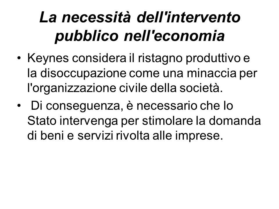 La necessità dell'intervento pubblico nell'economia Keynes considera il ristagno produttivo e la disoccupazione come una minaccia per l'organizzazione