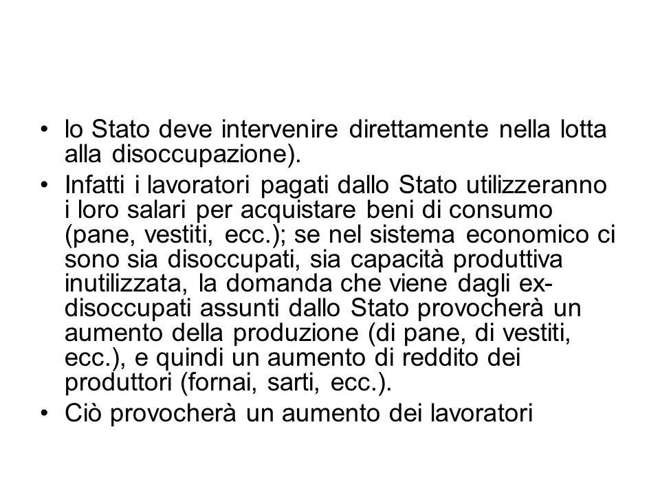 lo Stato deve intervenire direttamente nella lotta alla disoccupazione). Infatti i lavoratori pagati dallo Stato utilizzeranno i loro salari per acqui