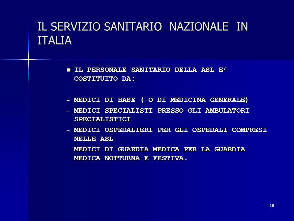 10 IL SERVIZIO SANITARIO NAZIONALE IN ITALIA IL PERSONALE SANITARIO DELLA ASL E COSTITUITO DA: IL PERSONALE SANITARIO DELLA ASL E COSTITUITO DA: - MED