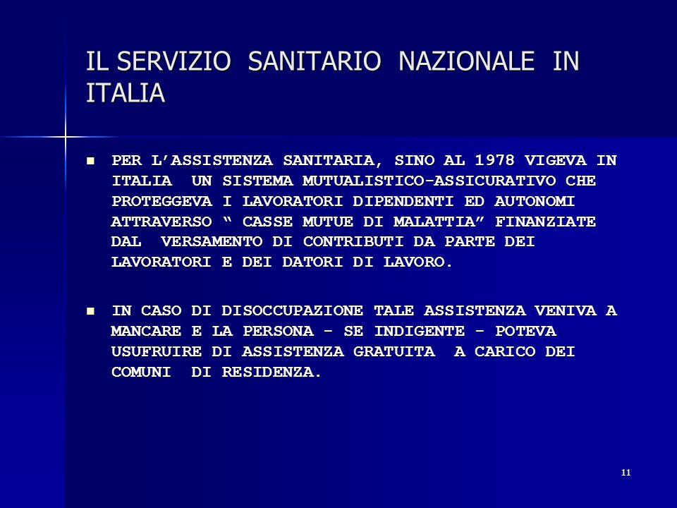 11 IL SERVIZIO SANITARIO NAZIONALE IN ITALIA PER LASSISTENZA SANITARIA, SINO AL 1978 VIGEVA IN ITALIA UN SISTEMA MUTUALISTICO-ASSICURATIVO CHE PROTEGG