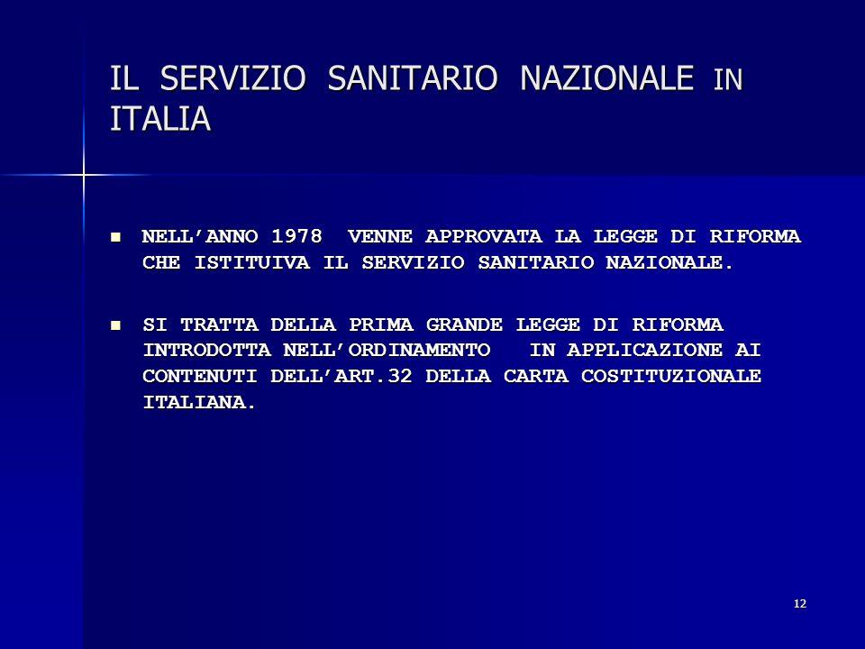 12 IL SERVIZIO SANITARIO NAZIONALE IN ITALIA NELLANNO 1978 VENNE APPROVATA LA LEGGE DI RIFORMA CHE ISTITUIVA IL SERVIZIO SANITARIO NAZIONALE. NELLANNO