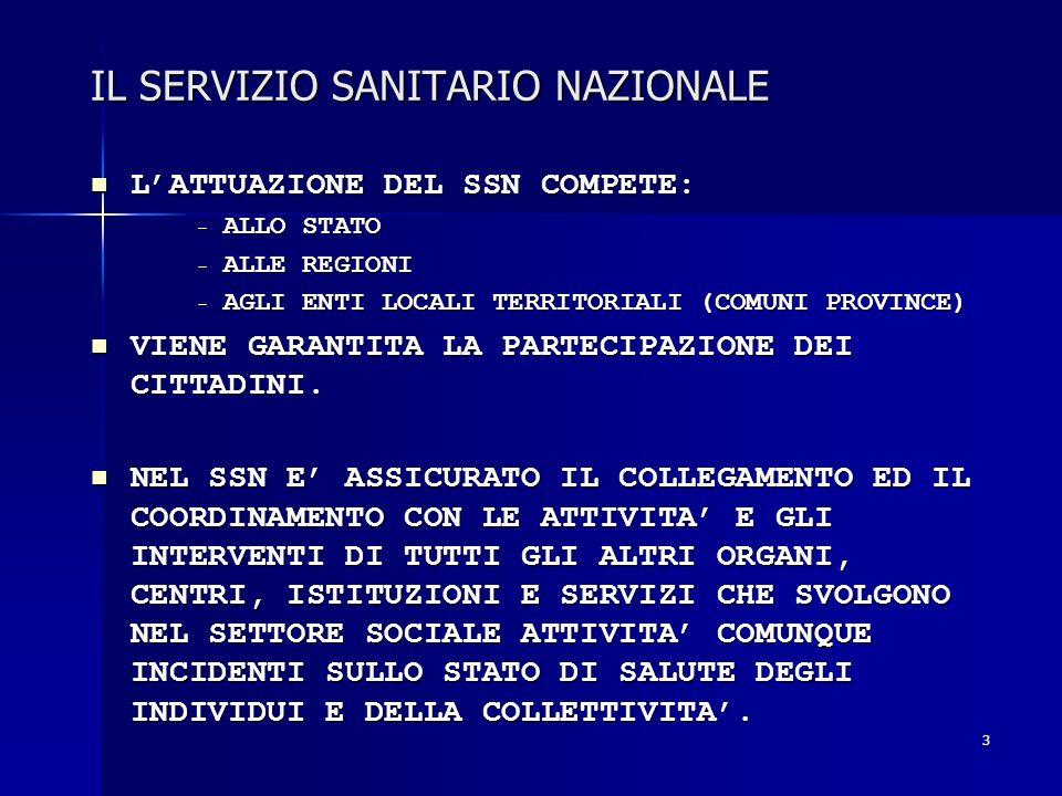 3 IL SERVIZIO SANITARIO NAZIONALE LATTUAZIONE DEL SSN COMPETE: LATTUAZIONE DEL SSN COMPETE: - ALLO STATO - ALLE REGIONI - AGLI ENTI LOCALI TERRITORIAL