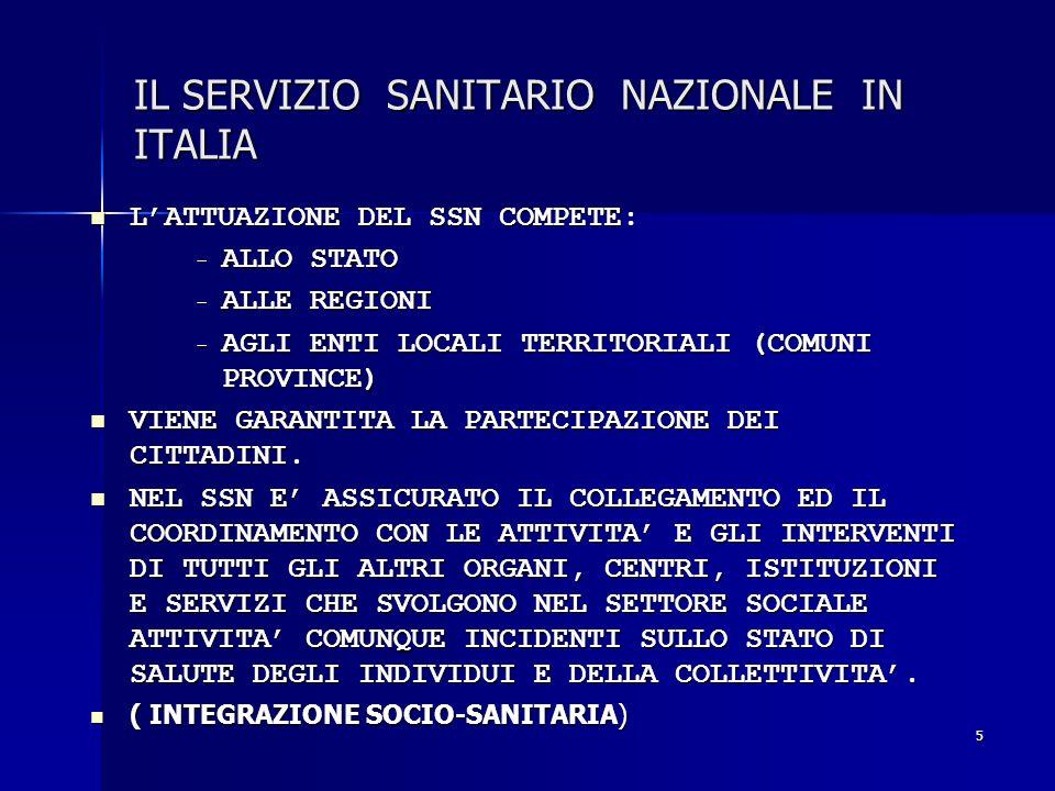 5 IL SERVIZIO SANITARIO NAZIONALE IN ITALIA LATTUAZIONE DEL SSN COMPETE: LATTUAZIONE DEL SSN COMPETE: - ALLO STATO - ALLE REGIONI - AGLI ENTI LOCALI T