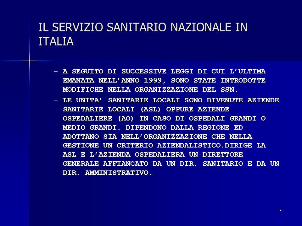 7 IL SERVIZIO SANITARIO NAZIONALE IN ITALIA –A SEGUITO DI SUCCESSIVE LEGGI DI CUI LULTIMA EMANATA NELLANNO 1999, SONO STATE INTRODOTTE MODIFICHE NELLA