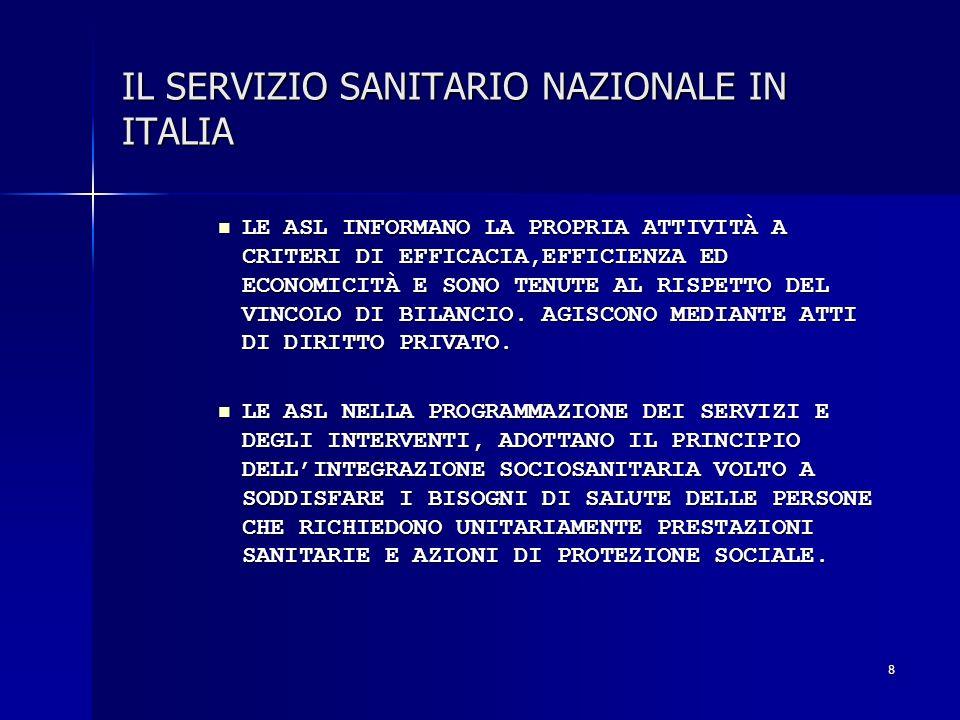 8 IL SERVIZIO SANITARIO NAZIONALE IN ITALIA LE ASL INFORMANO LA PROPRIA ATTIVITÀ A CRITERI DI EFFICACIA,EFFICIENZA ED ECONOMICITÀ E SONO TENUTE AL RIS
