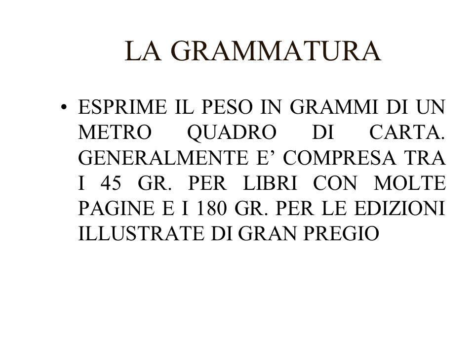 LA GRAMMATURA ESPRIME IL PESO IN GRAMMI DI UN METRO QUADRO DI CARTA.