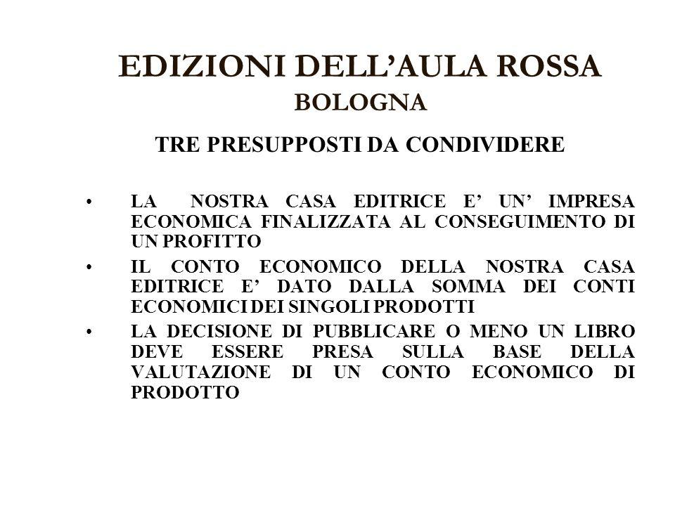 EDIZIONI DELLAULA ROSSA BOLOGNA TRE PRESUPPOSTI DA CONDIVIDERE LA NOSTRA CASA EDITRICE E UN IMPRESA ECONOMICA FINALIZZATA AL CONSEGUIMENTO DI UN PROFI