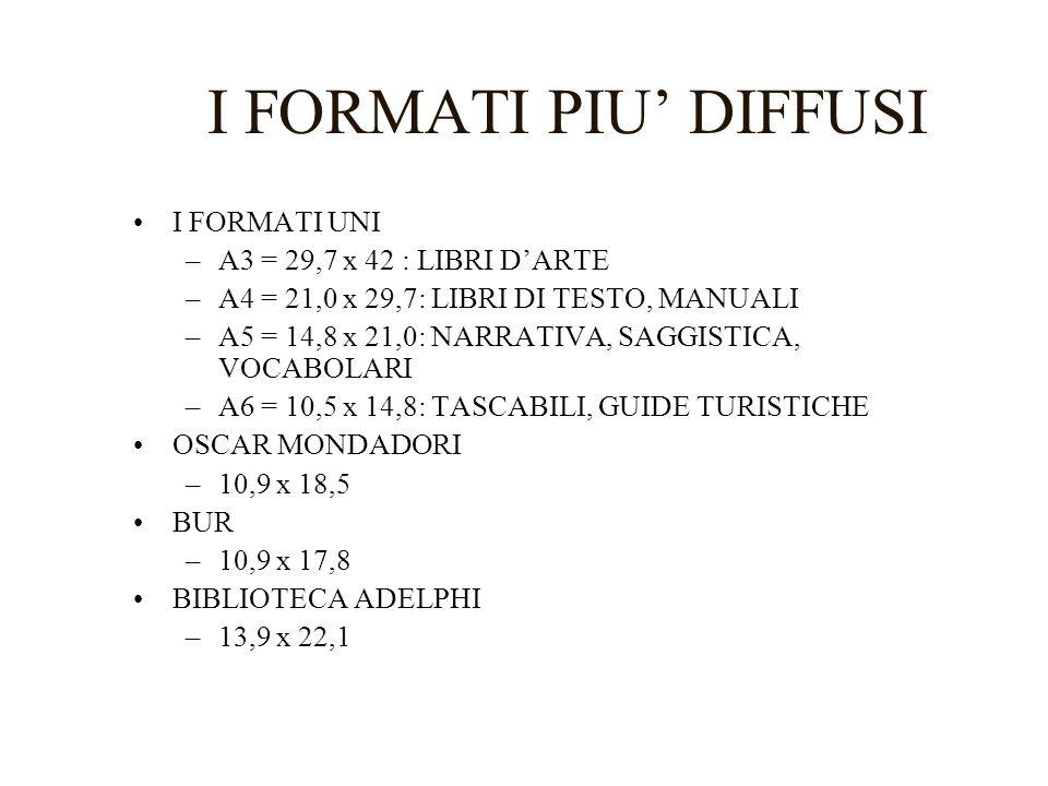 I FORMATI PIU DIFFUSI I FORMATI UNI –A3 = 29,7 x 42 : LIBRI DARTE –A4 = 21,0 x 29,7: LIBRI DI TESTO, MANUALI –A5 = 14,8 x 21,0: NARRATIVA, SAGGISTICA, VOCABOLARI –A6 = 10,5 x 14,8: TASCABILI, GUIDE TURISTICHE OSCAR MONDADORI –10,9 x 18,5 BUR –10,9 x 17,8 BIBLIOTECA ADELPHI –13,9 x 22,1