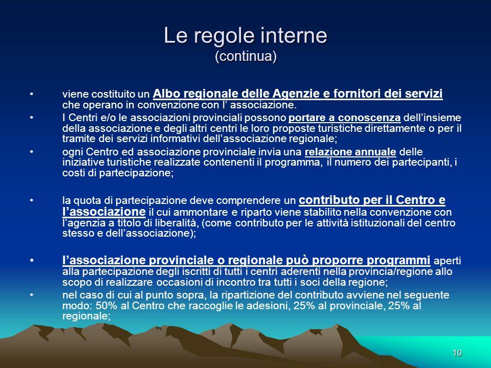 10 Le regole interne (continua) viene costituito un Albo regionale delle Agenzie e fornitori dei servizi che operano in convenzione con l associazione