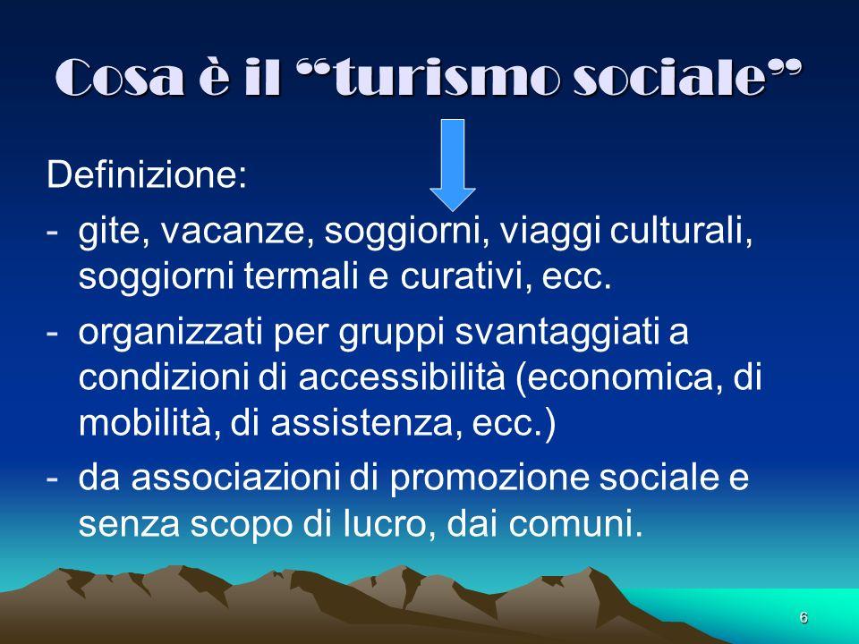 6 Cosa è il turismo sociale Definizione: -gite, vacanze, soggiorni, viaggi culturali, soggiorni termali e curativi, ecc. -organizzati per gruppi svant