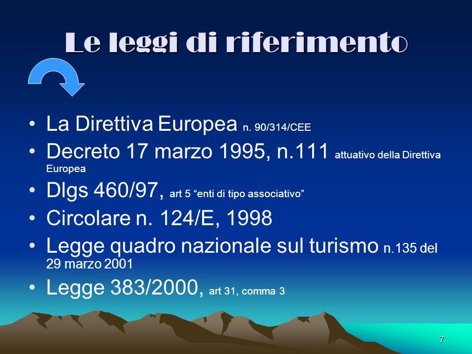 7 Le leggi di riferimento La Direttiva Europea n. 90/314/CEE Decreto 17 marzo 1995, n.111 attuativo della Direttiva Europea Dlgs 460/97, art 5 enti di