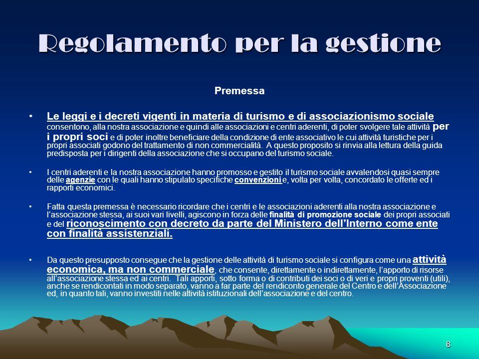 8 Regolamento per la gestione Premessa Le leggi e i decreti vigenti in materia di turismo e di associazionismo sociale consentono, alla nostra associa