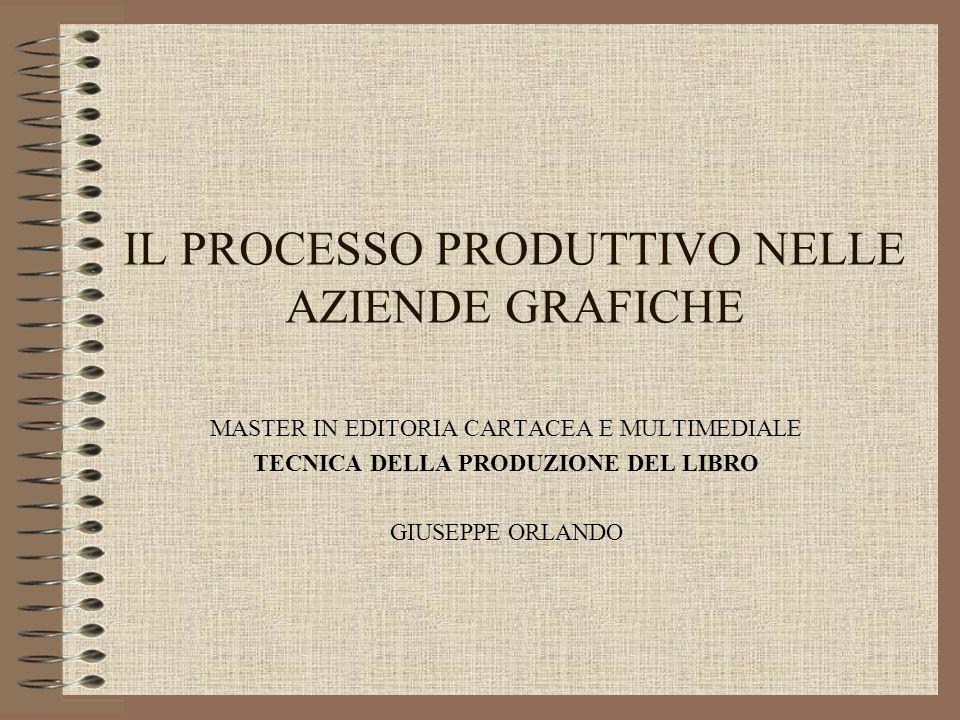 IL PROCESSO PRODUTTIVO NELLE AZIENDE GRAFICHE MASTER IN EDITORIA CARTACEA E MULTIMEDIALE TECNICA DELLA PRODUZIONE DEL LIBRO GIUSEPPE ORLANDO