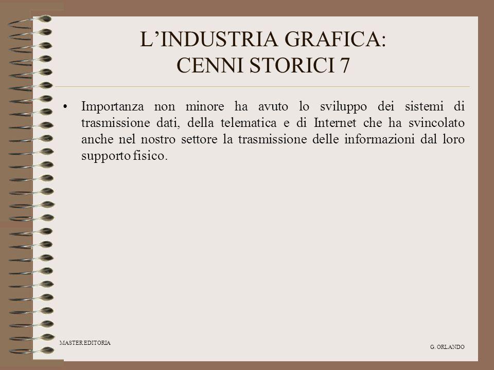 MASTER EDITORIA G. ORLANDO LINDUSTRIA GRAFICA: CENNI STORICI 7 Importanza non minore ha avuto lo sviluppo dei sistemi di trasmissione dati, della tele