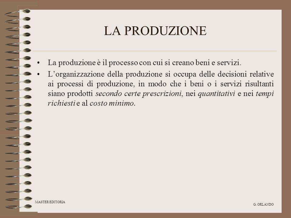 MASTER EDITORIA G. ORLANDO LA PRODUZIONE La produzione è il processo con cui si creano beni e servizi. Lorganizzazione della produzione si occupa dell