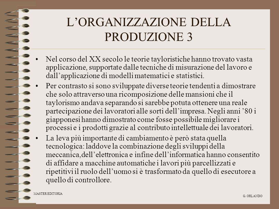 MASTER EDITORIA G. ORLANDO LORGANIZZAZIONE DELLA PRODUZIONE 3 Nel corso del XX secolo le teorie tayloristiche hanno trovato vasta applicazione, suppor
