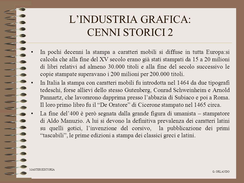 MASTER EDITORIA G. ORLANDO LINDUSTRIA GRAFICA: CENNI STORICI 2 In pochi decenni la stampa a caratteri mobili si diffuse in tutta Europa:si calcola che