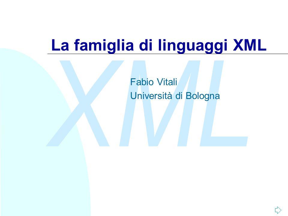 XML Fabio Vitali102 Complichiamo lesempio: entità parametriche (III) Realizziamo un DTD compatibile XML e SGML: n File romanzo.dtd: File romanzoxml.dtd %romanzo.dtd File romanzosgml.dtd %romanzo.dtd