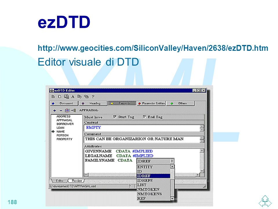 XML Fabio Vitali188 ezDTD http://www.geocities.com/SiliconValley/Haven/2638/ezDTD.htm Editor visuale di DTD