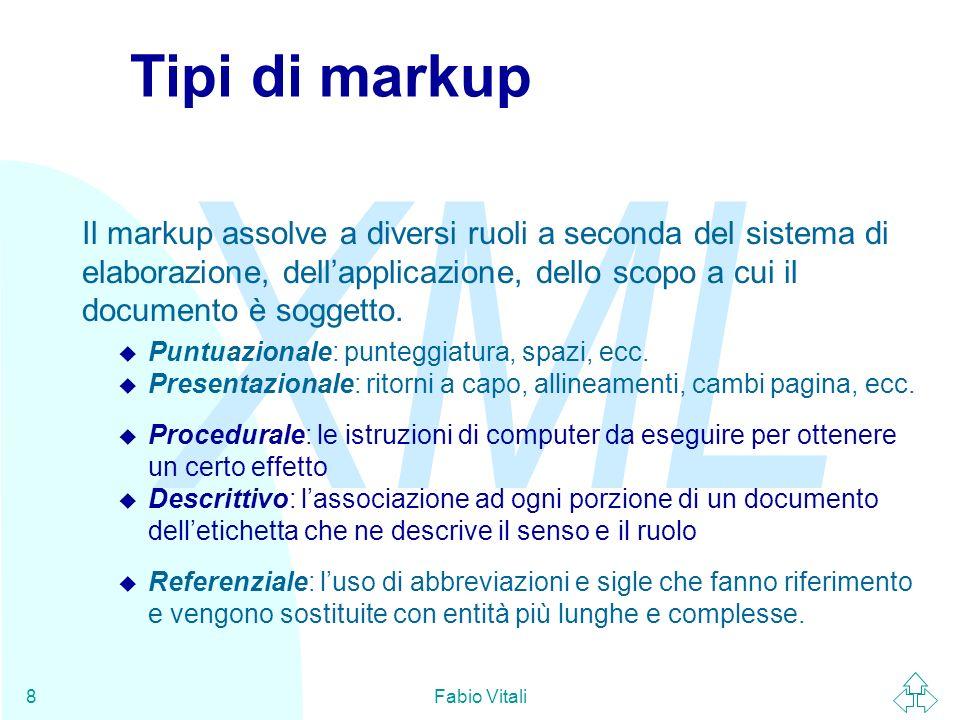 XML Fabio Vitali19 SGML SGML (Standard Generalized Markup Language) è un meta- linguaggio standard e non proprietario per il markup dichiarativo.