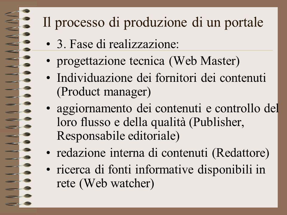 Il processo di produzione di un portale 3. Fase di realizzazione: progettazione tecnica (Web Master) Individuazione dei fornitori dei contenuti (Produ