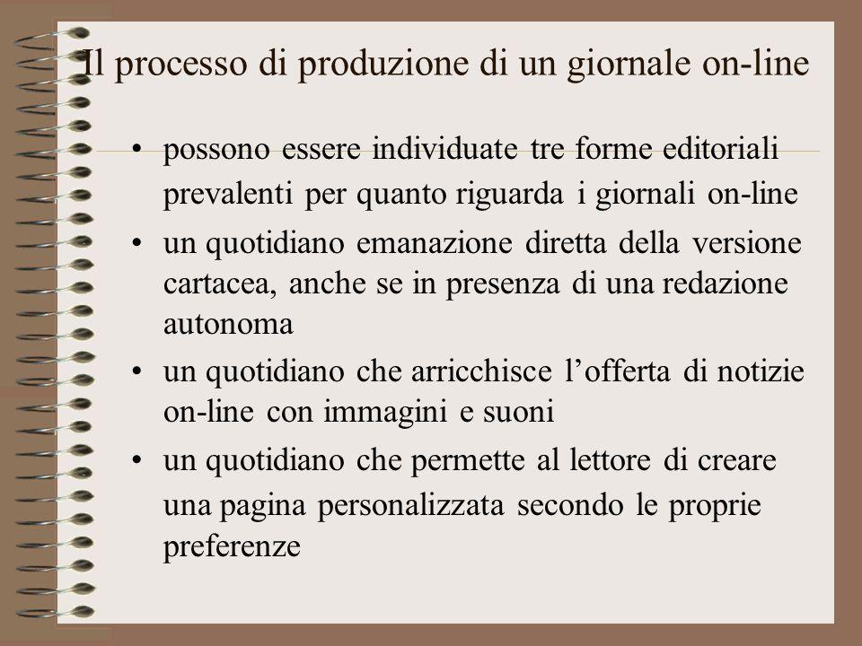 Il processo di produzione di un giornale on-line possono essere individuate tre forme editoriali prevalenti per quanto riguarda i giornali on-line un