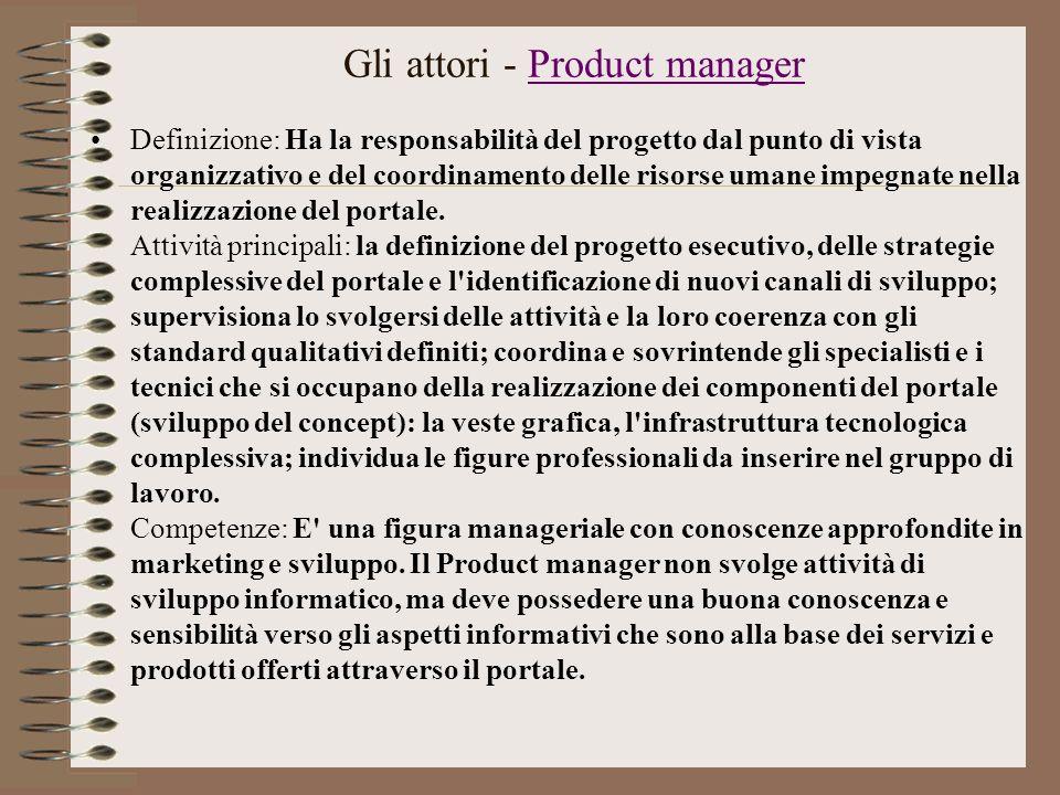Gli attori - Product managerProduct manager Definizione: Ha la responsabilità del progetto dal punto di vista organizzativo e del coordinamento delle risorse umane impegnate nella realizzazione del portale.