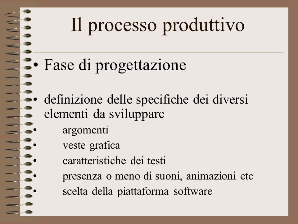 Fase di progettazione definizione delle specifiche dei diversi elementi da sviluppare argomenti veste grafica caratteristiche dei testi presenza o meno di suoni, animazioni etc scelta della piattaforma software