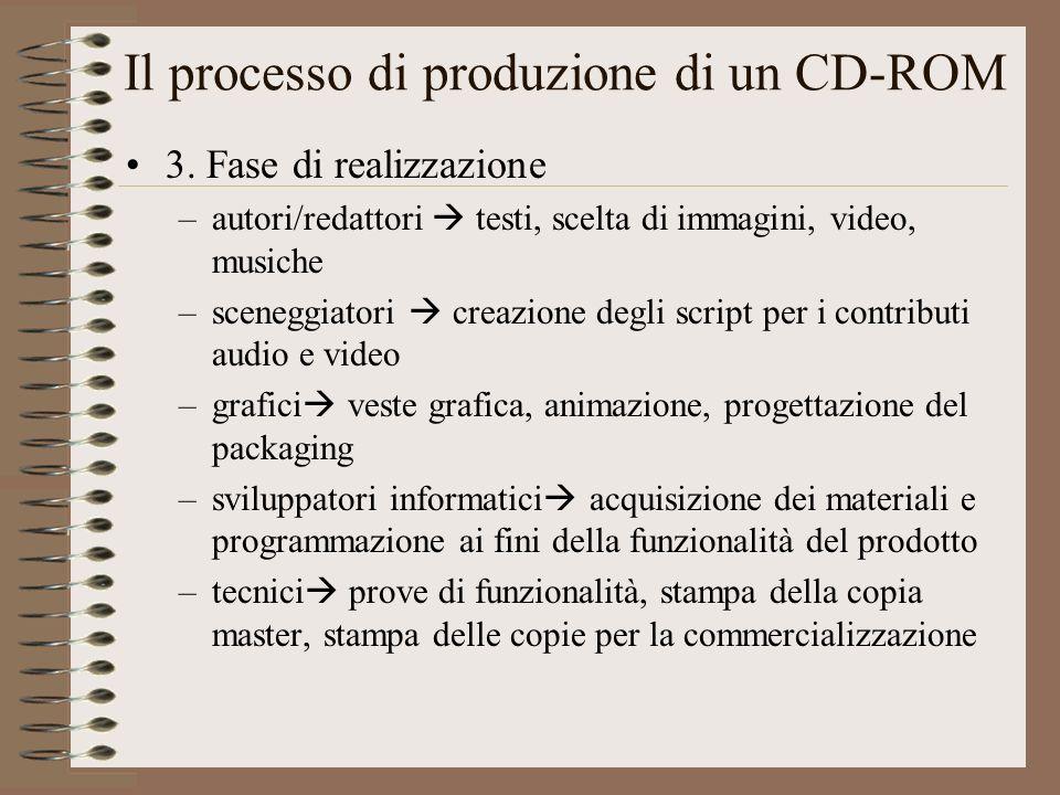 Il processo di produzione di un CD-ROM 3. Fase di realizzazione –autori/redattori testi, scelta di immagini, video, musiche –sceneggiatori creazione d