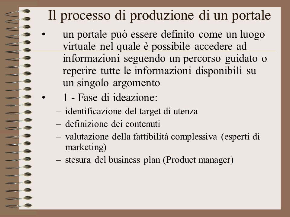 Il processo di produzione di un portale un portale può essere definito come un luogo virtuale nel quale è possibile accedere ad informazioni seguendo