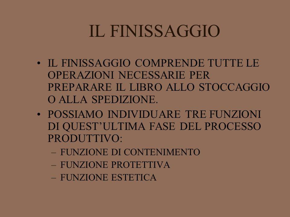 IL FINISSAGGIO IL FINISSAGGIO COMPRENDE TUTTE LE OPERAZIONI NECESSARIE PER PREPARARE IL LIBRO ALLO STOCCAGGIO O ALLA SPEDIZIONE.