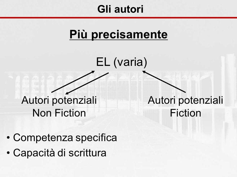 EL (varia) Autori potenziali Non Fiction Competenza specifica Capacità di scrittura Autori potenziali Fiction Gli autori Più precisamente