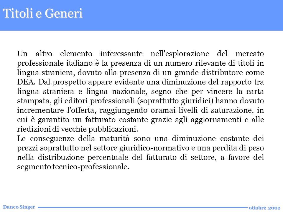 Danco Singer ottobre 2002 Un altro elemento interessante nell esplorazione del mercato professionale italiano è la presenza di un numero rilevante di titoli in lingua straniera, dovuto alla presenza di un grande distributore come DEA.