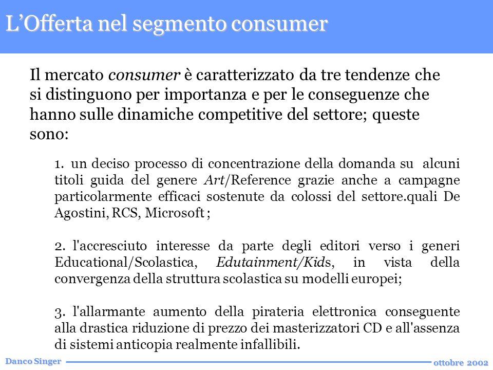 Danco Singer ottobre 2002 LOfferta nel segmento consumer Il mercato consumer è caratterizzato da tre tendenze che si distinguono per importanza e per le conseguenze che hanno sulle dinamiche competitive del settore; queste sono: 1.