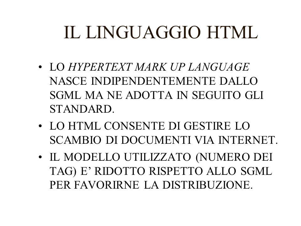 IL LINGUAGGIO HTML LO HYPERTEXT MARK UP LANGUAGE NASCE INDIPENDENTEMENTE DALLO SGML MA NE ADOTTA IN SEGUITO GLI STANDARD. LO HTML CONSENTE DI GESTIRE