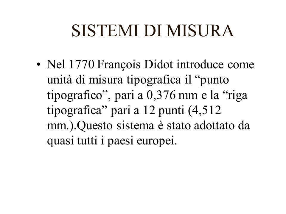 SISTEMI DI MISURA Nel 1770 François Didot introduce come unità di misura tipografica il punto tipografico, pari a 0,376 mm e la riga tipografica pari
