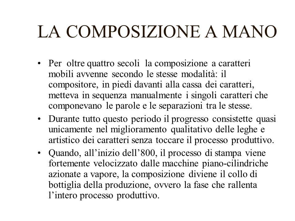LA COMPOSIZIONE A MANO Per oltre quattro secoli la composizione a caratteri mobili avvenne secondo le stesse modalità: il compositore, in piedi davant