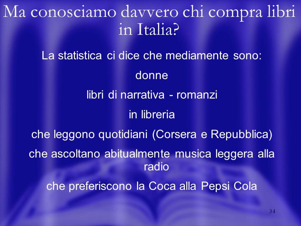 34 Ma conosciamo davvero chi compra libri in Italia? La statistica ci dice che mediamente sono: donne libri di narrativa - romanzi in libreria che leg